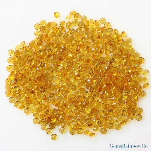 Citrine Round Faceted Loose gemstone Lemon colour