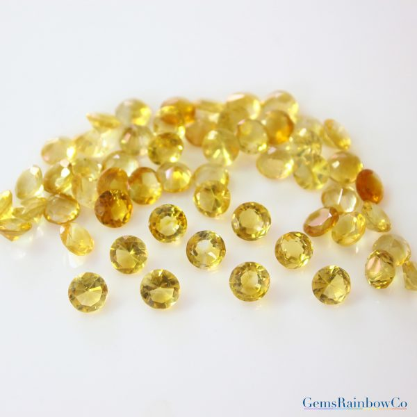 Citrine Round Faceted Loose gemstone