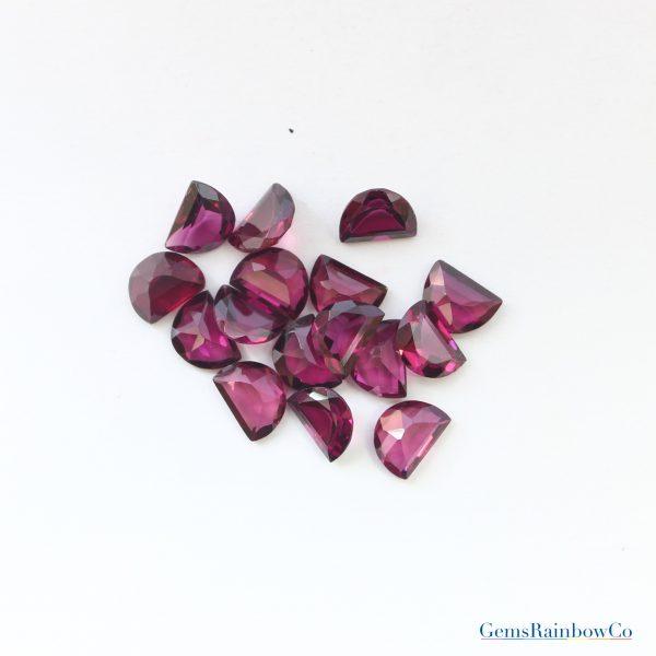 Garnet Faceted D Shape