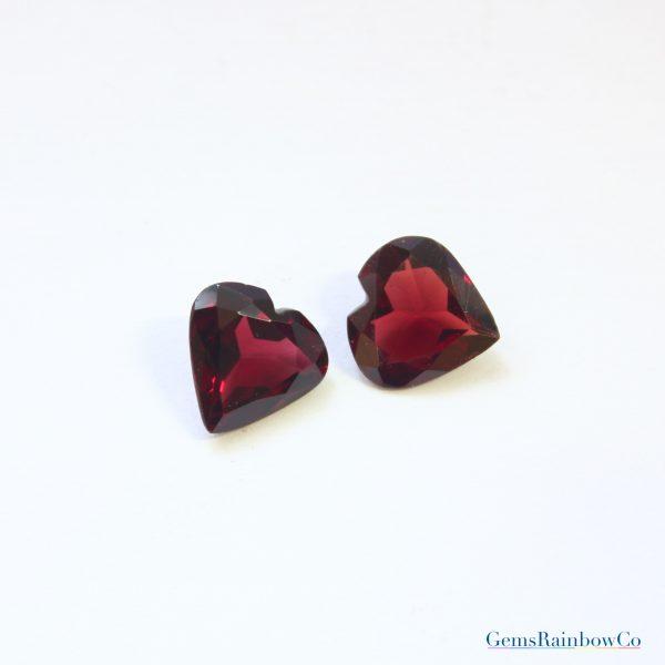 Garnet Faceted Heart